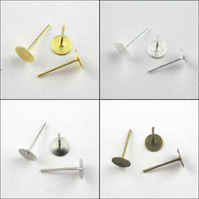 4mm,6mm,8mm Gold,Silver,Bronze,White K,Flat Round Bank Peg&Post Ear Studs Crafts
