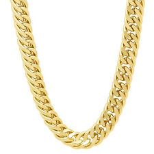 9mm 14k Gold Plated Double Cuban Link Curb Chain
