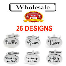 Personalised Mens Weddings Cufflinks Oval Shiny Silver PAIR Groom Best Man Usher