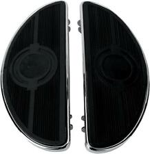 DS Half-Moon Driver Floorboards w/Solid Inserts Chrome Harley FLHX 06-13