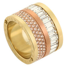 MICHAEL KORS TWO TONE PLATED CRYSTAL BARREL RING SIZE,5.6.7.8  --MKJ1907931