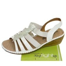 Cushion Walk White Leather Insock Beaded Crystal Wedge Heel Sandals WIDE FIT