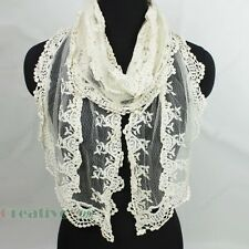 Stylish Women Unique Crochet  Embroidery Lace Floral Long Scarf Lace Trim Shawl
