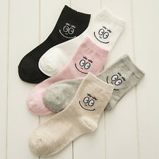 1 pairs New Women Girls Cotton Ankle Socks Sports Cartoon Smiling Face Hosiery
