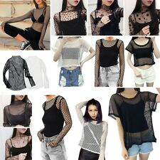 Women Hollow Mesh Net T-Shirt Short/Long Sleeve Tee Tops Transparent Blouse Tank