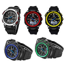OHSEN Digital LCD Alarm Date Mens Sport Rubber Watch Blue T8B9