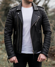 New Mens Genuine Lambskin Leather Jacket Black Slim fit Biker Motorcycle jacket