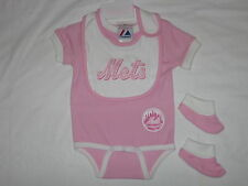 New York Mets Sleeper Pink Baby Creeper With Bib And Booties
