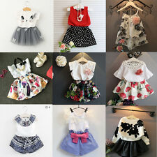 Infant Toddler Baby Girl Summer Outfits T-shirt Tops+Shorts Pants Skirt 2pcs Set