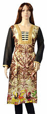 Indian Kurta Rayon Ethnic Designer Brown Pakistani Long Kurti Women Top Tunic