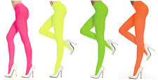 Womens Neon Bright Tights Rave 80's Fancy Dress UV Fun Run Opaque Emo Goth