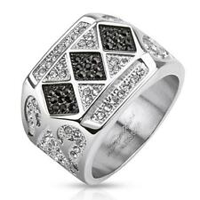 stainless steel Unisex Ring silver black Zirconia clear NEW JEWELRY