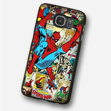 SPIDERMAN COMICS COLLAGE Black Hard Phone Case Cover Fits Samsung  Models (SBH)