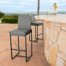 Conrad Outdoor Patio Gray Wicker Barstools