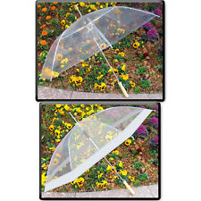 """48"""" Clear Auto Open Golf Umbrella, Transparent, All Clear or Clear & White"""