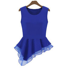 1 PCS Sleeveless Tops T-Shirt Frill Chiffon Women Summer Vest Blouse Irregular