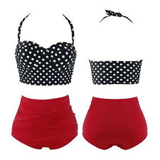 Pin Up 1 Set Women Sexy Polka Dot Bra + Panty New Bikini Hot
