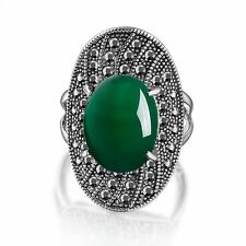 Retro Green Stone Marcasite Cocktail Ring 18k White Gold GP Fashion Gift R1035