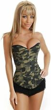 Sexy Camouflage Army Military Corset Top Fancy Dress Cotume Outfit Hen Halloween