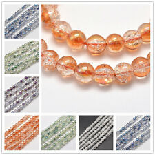 "16"" Strand Crackle Glass Round Beads Craft Jewellery 8mm Choice of Colours"