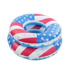 Inflatable Swim Tube Ring USA Flag Shape Swimming Pool Water Float Raft
