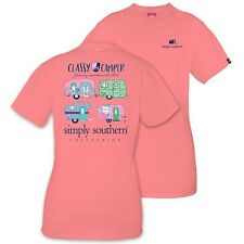 Simply Southern Tee Short T-Shirt Womans Classy Camper Journey Soul Peony Pink