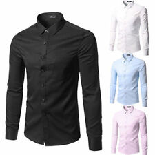 Mens Fashion Luxury Casual Stylish Slim Fit Long Sleeve Casual Dress Shirts top_