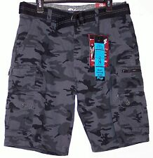 NWT Men's Plugg Belted Cargo Shorts 28 29 30 31 32 33 34 36 Storm Gray Camo