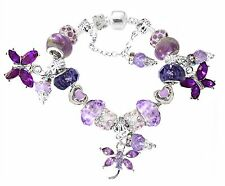 Girls European Purple Butterfly Dragonfly Crystal Glass Beads All Sizes