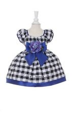 New Baby Girls Black White Blue Checkered Print Dress Christmas Party 1174B