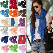 New Women Candy Color Long Big Crinkle Voile Soft Scarf Wrap Shawl Girls Stole