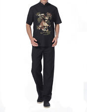 Mens Chinese Cotton and Linen Dragon Embroidery Short Sleeve Tang Suits Uniforms