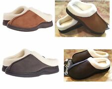 Dearfoams Mens Faux Suede Sherpa Clog Slippers MicroFiber-Indoor/Outdoor $36 New