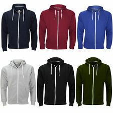 Mens Fleece Lined Hooded Classic Sweatshirt Jumper Full Zip Hoody Top Jacket