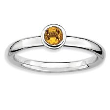 925 Sterling Silver Faceted Round Framework Bezel Citrine Ring - 2.25mm