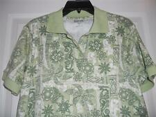 Beautiful Printed S/S Polo Shirt NEW By Keneth Too! Casuals Petite Size PM & PL