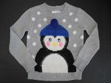 NEW Justice long sleeve fuzzy penguin silver polka dot sweater size 5 or 6 NWT