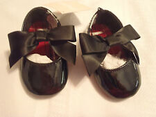 Gymboree Holiday Traditions Black Bow Shoes Slip On Size 1 NEW No Paper Tag
