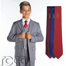 Boys Grey Suit, Boys Communion Suit, Red, Blue, Burgundy Chalice Tie, 5-14 years