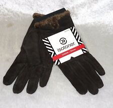 Isotoner Womens Casual Suede Gloves Microluxe Lining solid size L NEW