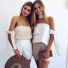 Women Sexy Elegant Strapless Off Shoulder Asymmetrical Blouse Top UTAR01
