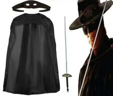 Zorro Fancy Dress Mask Cape Fencing Sword Hat Black Spanish Mexican Warrior Book