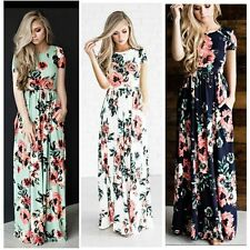 Summer Beach Cocktail Dress Long Maxi Sleeve Party Evening Sundress Casual Women