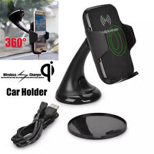QI Wireless Phone Charger Vehicle Dock 360 Rotating Mount Vent/ Stand Car Holder