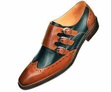 Asher Green Mens Two Tone Black and Tan Genuine Leather Wingtip Triple Monkstrap