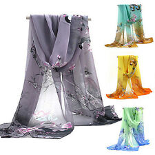 New Womens Printed Flower Soft Silk Chiffon Neck Scarf Wrap Shawl Stole Dazzling