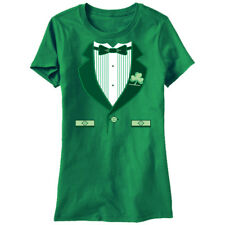 Humor Irish Tux Girls Women's Kelly Green Funny T-shirt NEW Sizes S-2XL