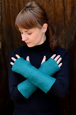 Natural mittens felted of merino wool, handmade felt mitts or fingerless gloves