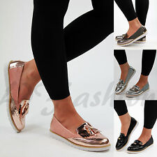 New Womens Flat Casual Loafers Slip On Brogue Fringe Pumps Tassel Comfy Shoes