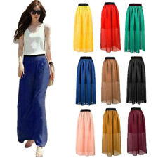 Elastic Waist Double Layer Chiffon Women Skirt 1 pcs Retro Long Dress Pleated